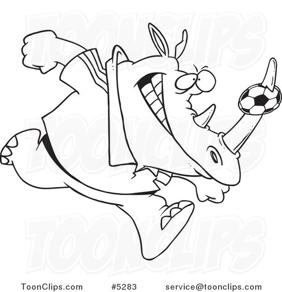 581x600 Cartoon Black And White Line Drawing Of A Rhino With A Soccer Ball