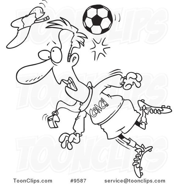 581x600 Cartoon Blacknd White Line Drawing Of Soccer Ball Hitting