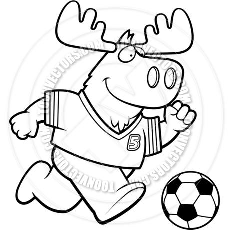 460x460 Cartoon Moose Soccer (Black Amp White Line Art) By Cory Thoman