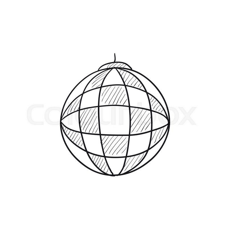 800x800 Disco Ball Vector Sketch Icon Isolated On Background. Hand Drawn