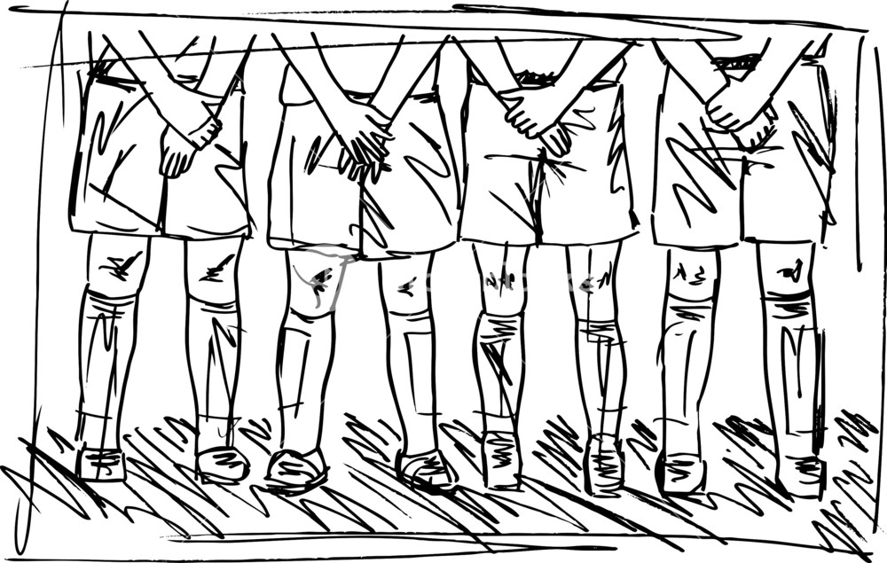 1000x635 Sketch Of Soccer Players Preparing For Free Kick. Vector