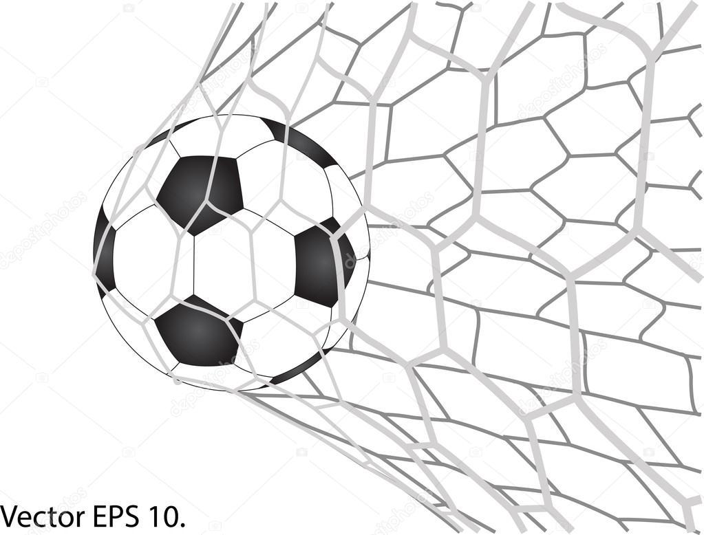 1023x778 Soccer Football In Goal Net Vector, Eps 10. Stock Vector
