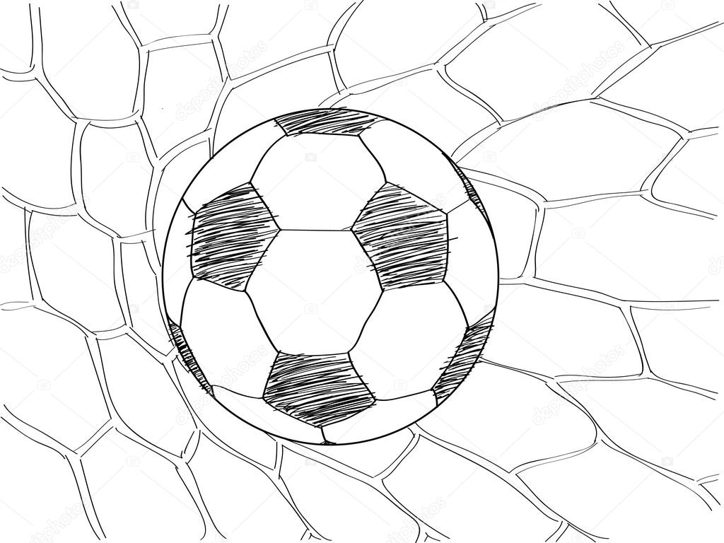 1024x768 Soccer Football In Goal Net Vector Sketched Up, Eps 10. Stock