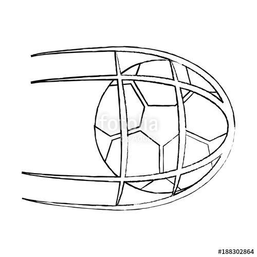 500x500 Soccer Ball In Net Shoot Sport Vector Illustration Stock Image