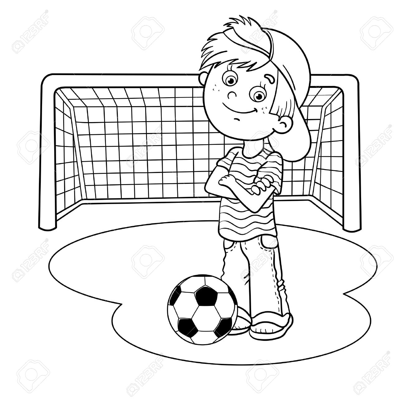 1300x1300 coloring page outline of a cartoon boy with a soccer ball and