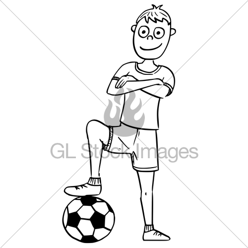 500x500 Cartoon Illustration Of Football Soccer Player Posing Wit Gl