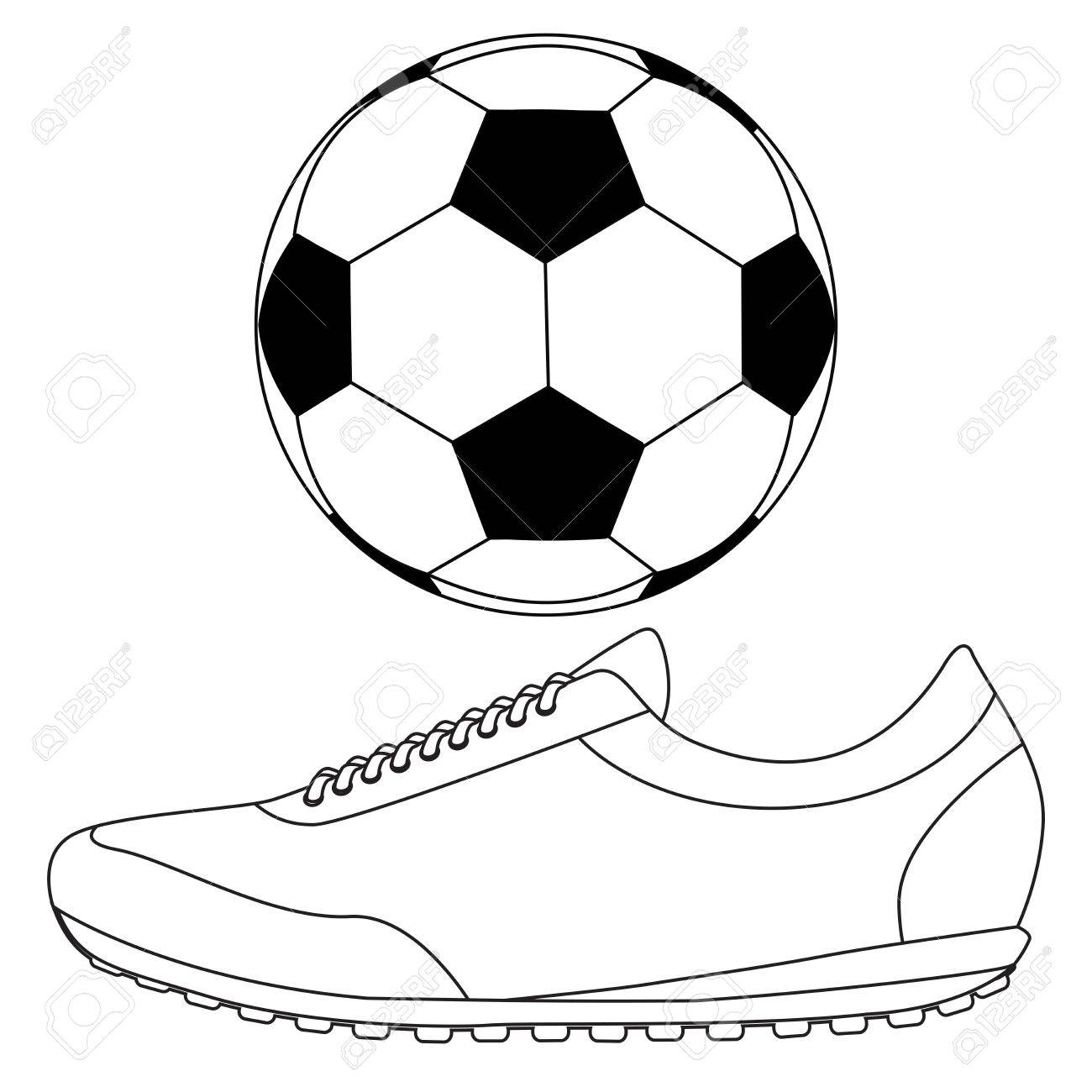 1300x1300 Soccer Ball And Running Shoes Vector Icon Isolated On White