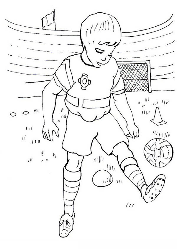 600x842 A Boy Practising His Soccer Move In The Stadium Coloring Page