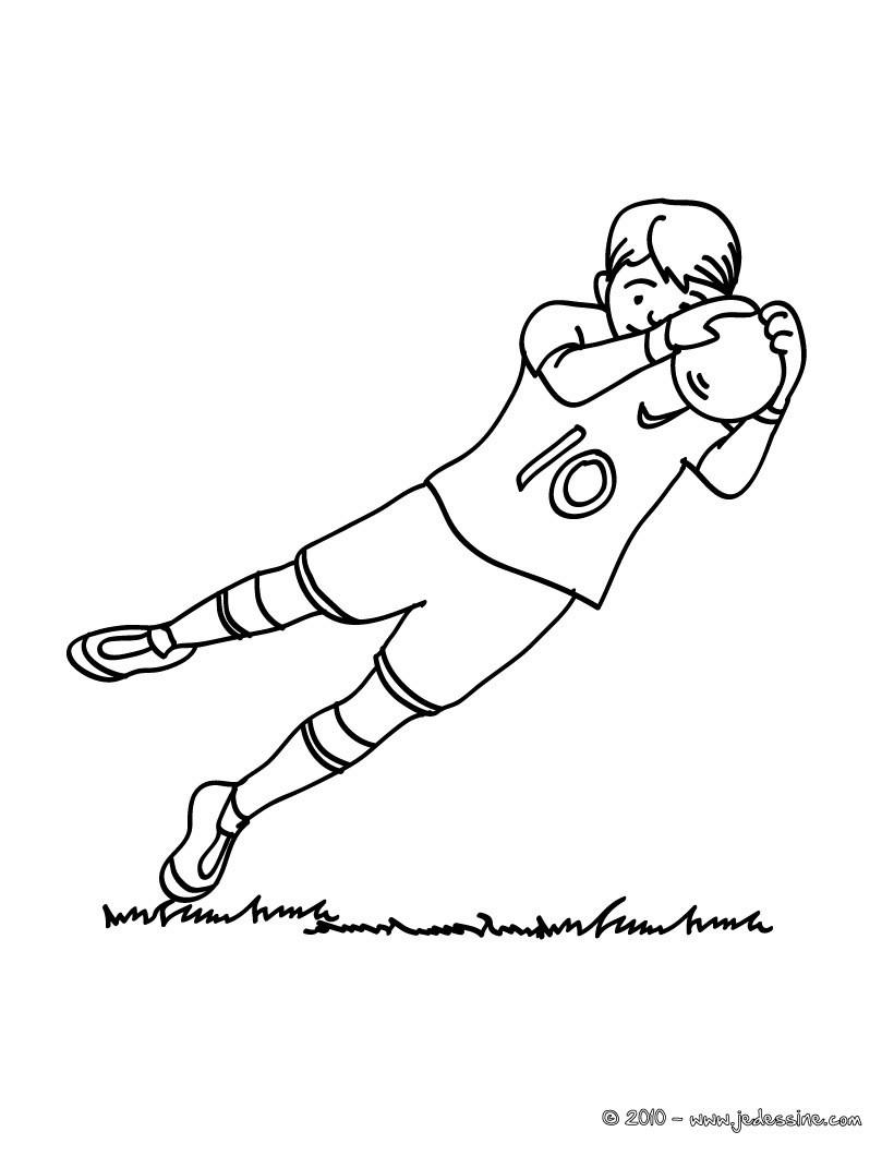 820x1060 Coloriage D'Un Gardien De Foot Pendant Un Match. Un Joli Coloriage