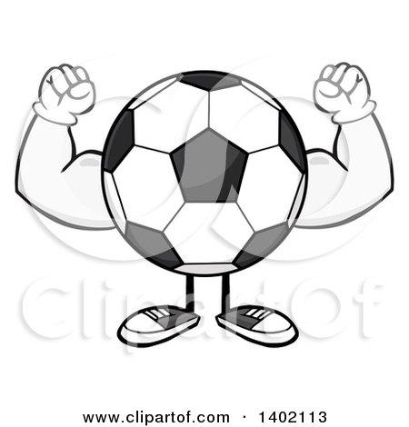 450x470 Clipart Of A Cartoon Faceless Soccer Ball Mascot Character Flexing