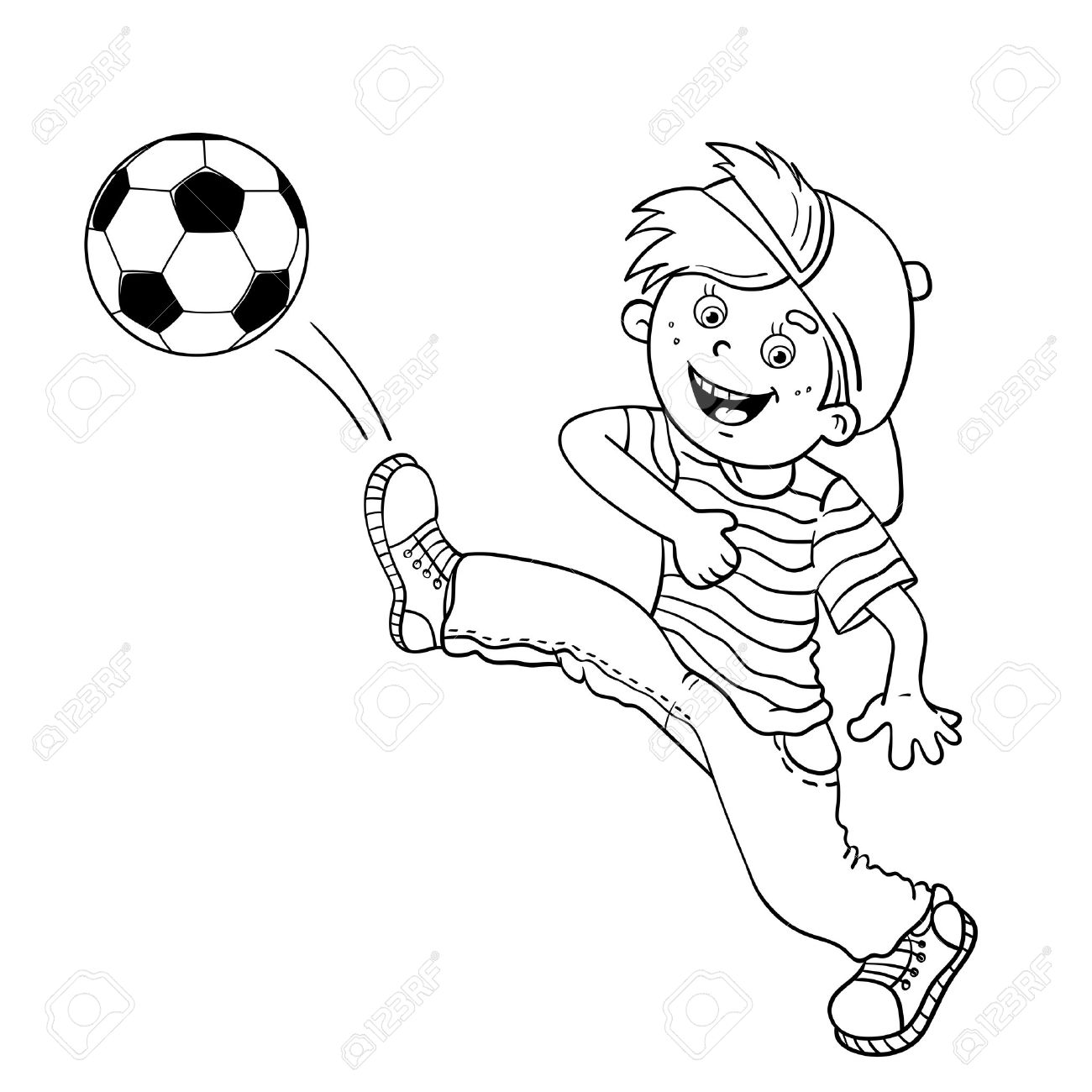 1300x1300 Coloring Page Outline Of A Cartoon Boy Kicking A Soccer Ball