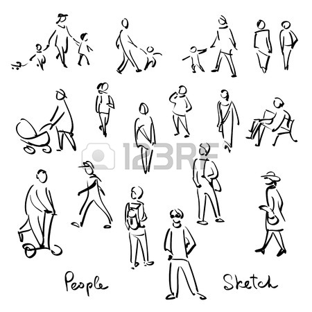 450x450 Casual People Sketch. Outline Hand Drawing Vector Illustration