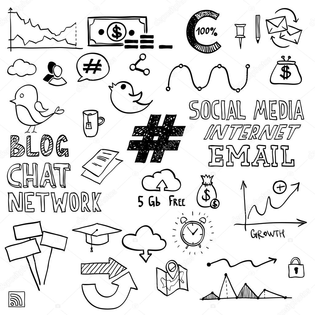 1024x1024 Hand Draw Social Media Sign And Symbol Doodles Elements. Concept