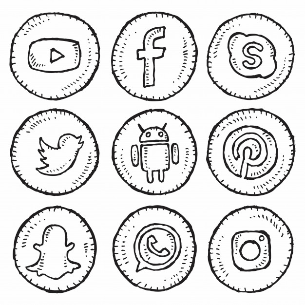 626x626 Social Media Icon Set Hand Drawing Vector Premium Download