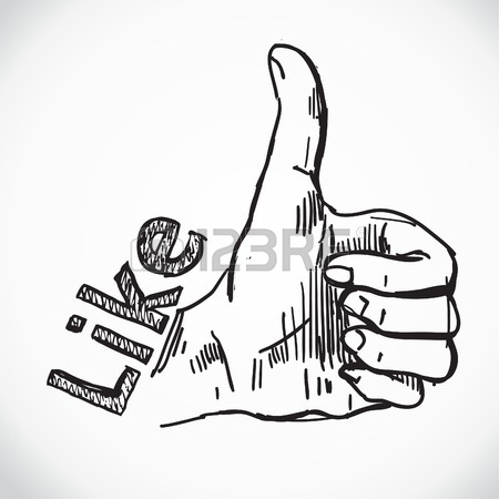 450x450 Thumb Up Like Hand Symbol. Hand Drawing Sketch Vector Royalty