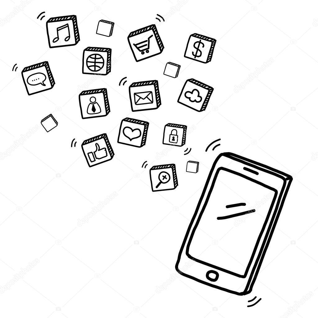 1024x1024 Hand Draw Mobile Phone With Social Media Concept Stock Photo