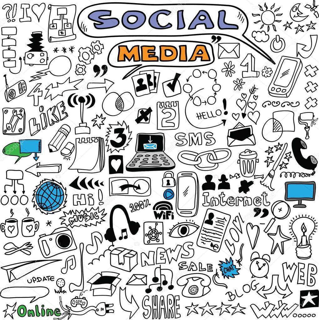 1020x1024 Big Set Hand Drawn Illustration Of Social Media Sign And Symbol
