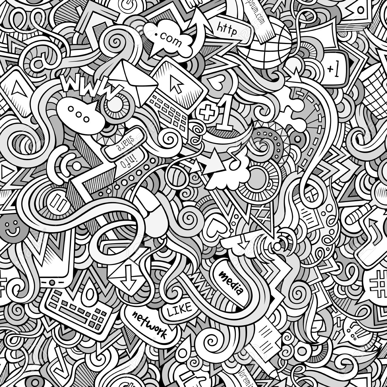 1300x1300 Cartoon Doodles On The Subject Of Internet Social Media Theme