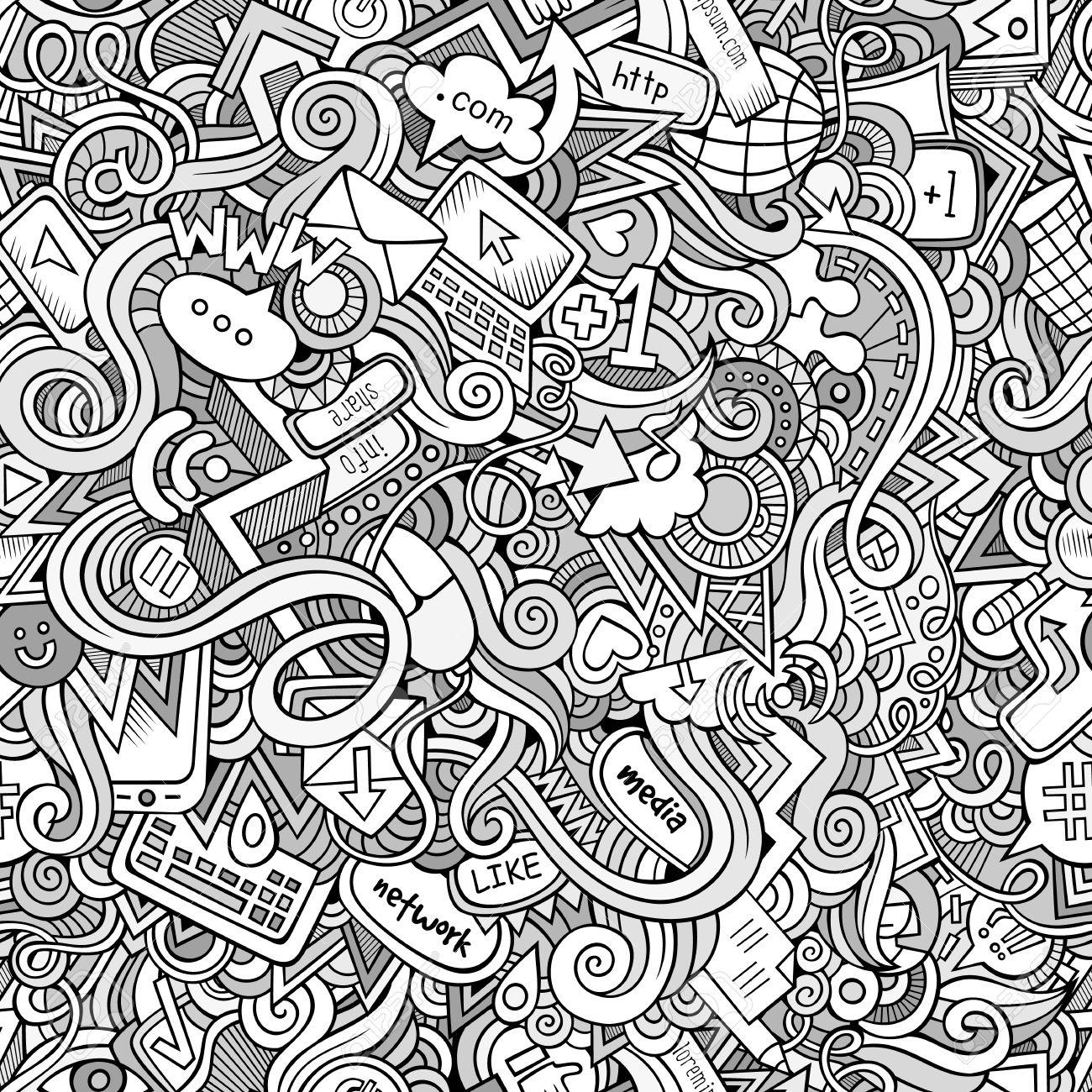 1300x1300 Cartoon Doodles On The Subject Of Internet Social Media Theme