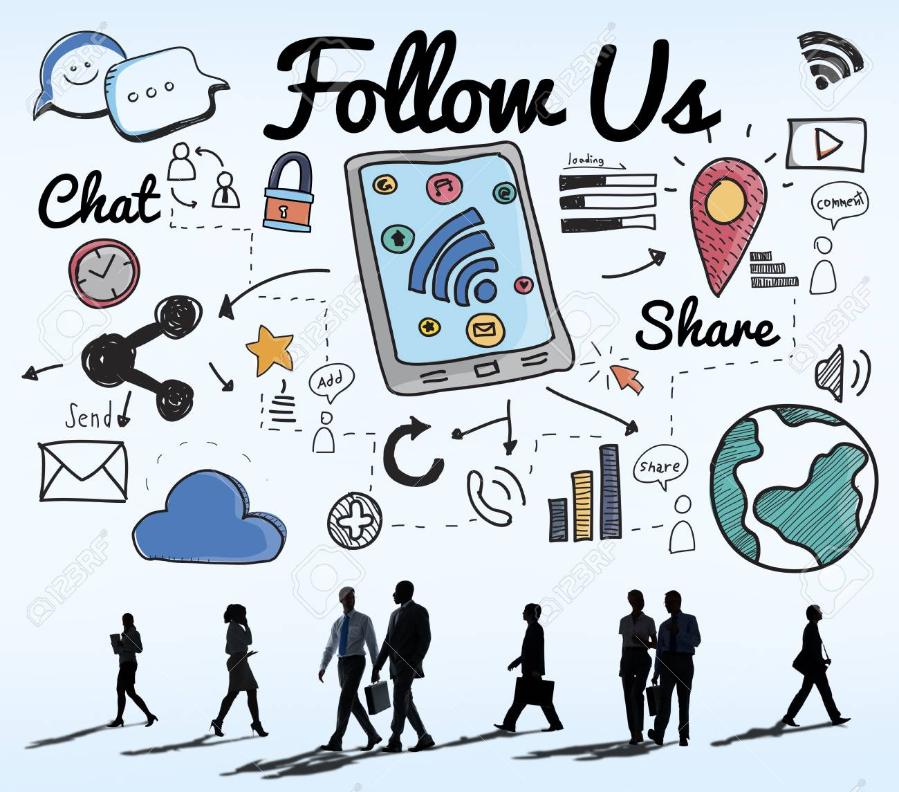 1300x1145 Follow Us Follower Join Us Social Media Concept Stock Photo