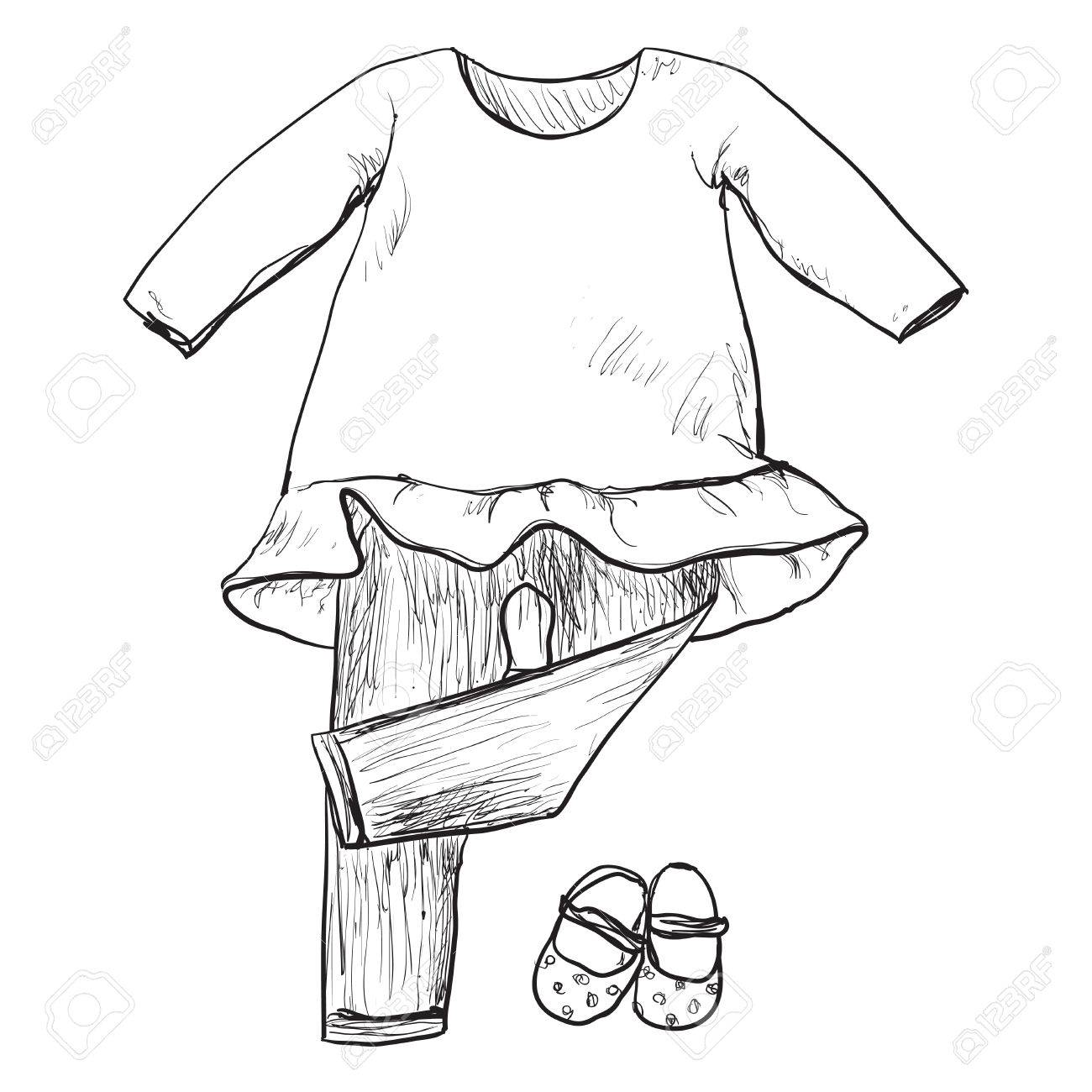 1300x1300 Drawing Clothing For Little Girls. Clothes And Shoes Sketch