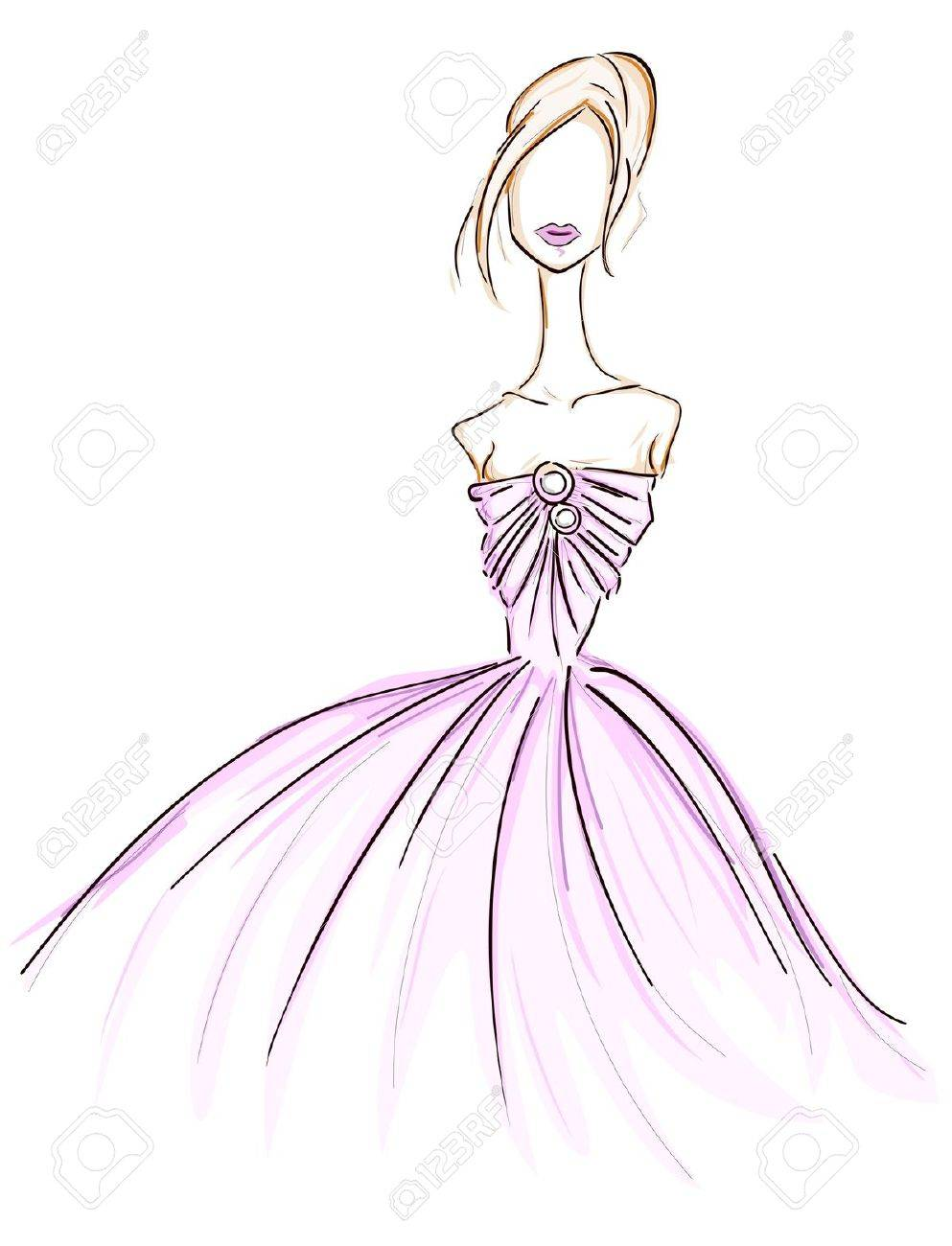 993x1300 Girl In Gown Sketch Stock Photo, Picture And Royalty Free Image