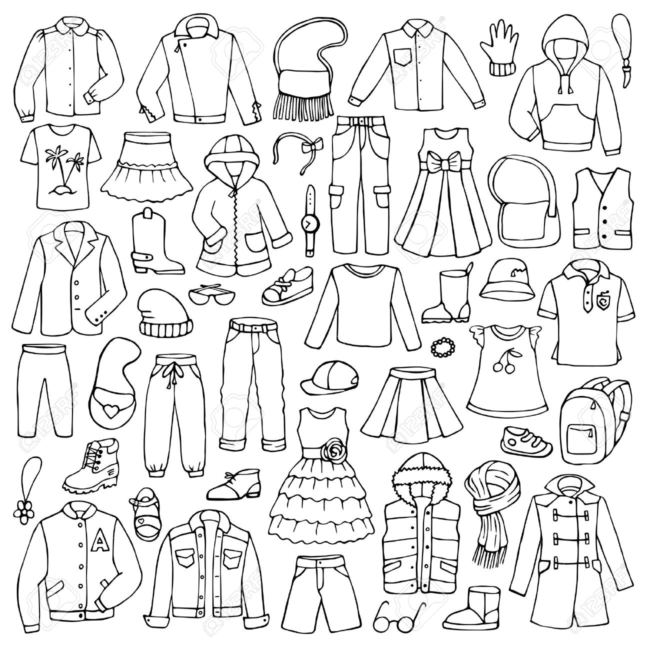 1300x1300 Hand Drawn Doodle Set With Childish Clothes Royalty Free Cliparts
