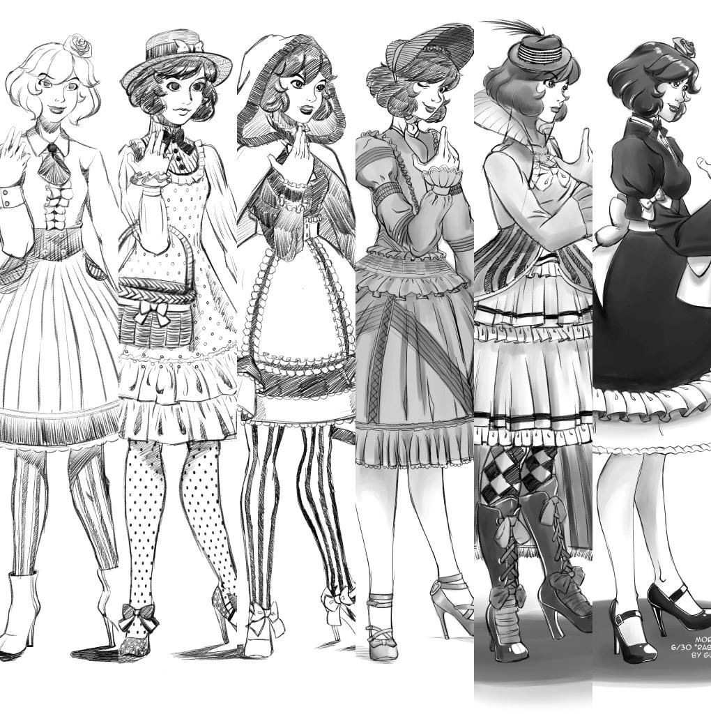 1020x1024 Lolita Fashion Sketches Set