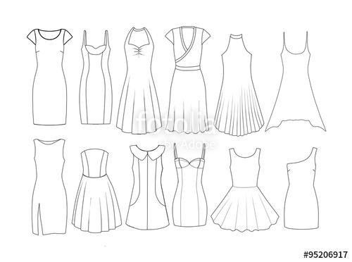 500x372 Set Of Fashion Flat Templates Sketches