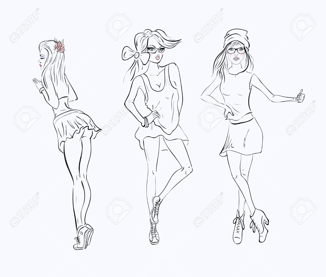 1300x1103 Sketch Drawing Girl In A Short Dress On White Background Royalty