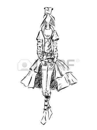 338x450 Vector Fashion Model. Vector Sketch Silhouette. Dress Pencil