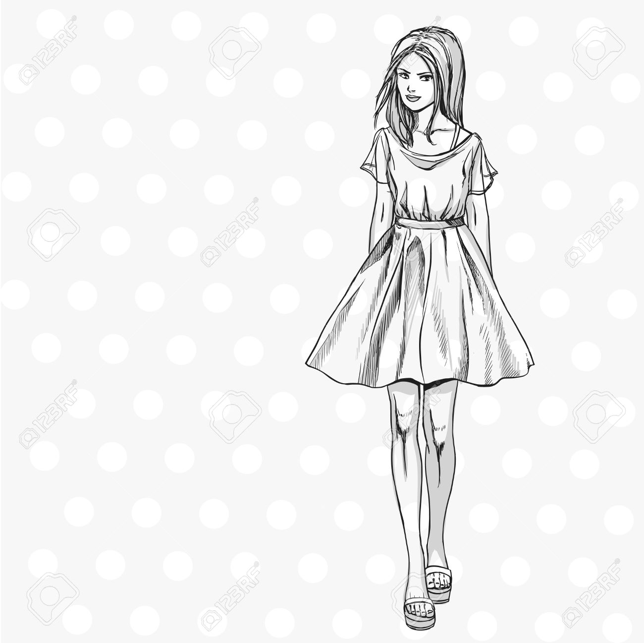 1300x1297 Young Fashionable Slender Girl In Summer Dress. Comics Sketch