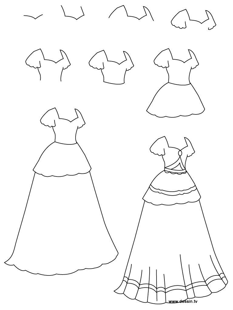 768x1024 How To Draw A Dress Learn How To Draw A Princess Dress
