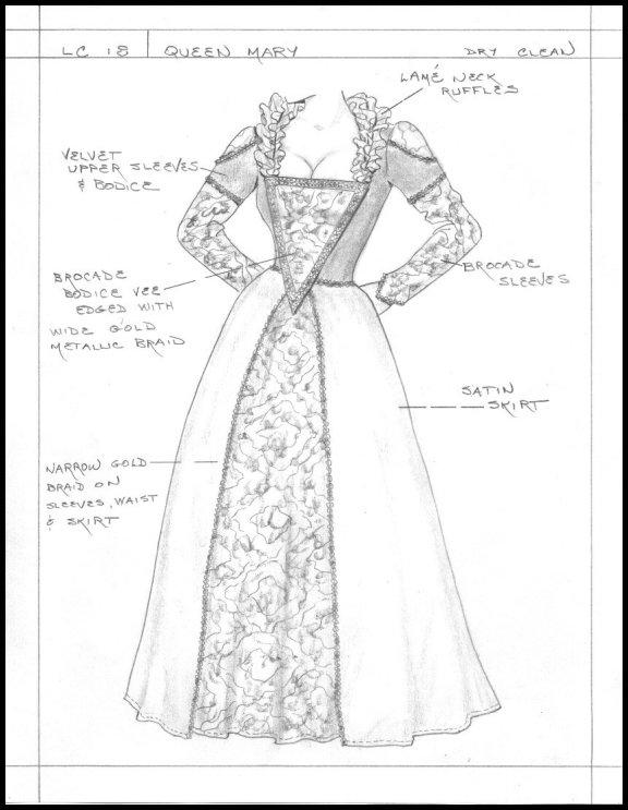 576x743 Renaissance Dress Drawing Copyright 2002 Ashley Nostalgia