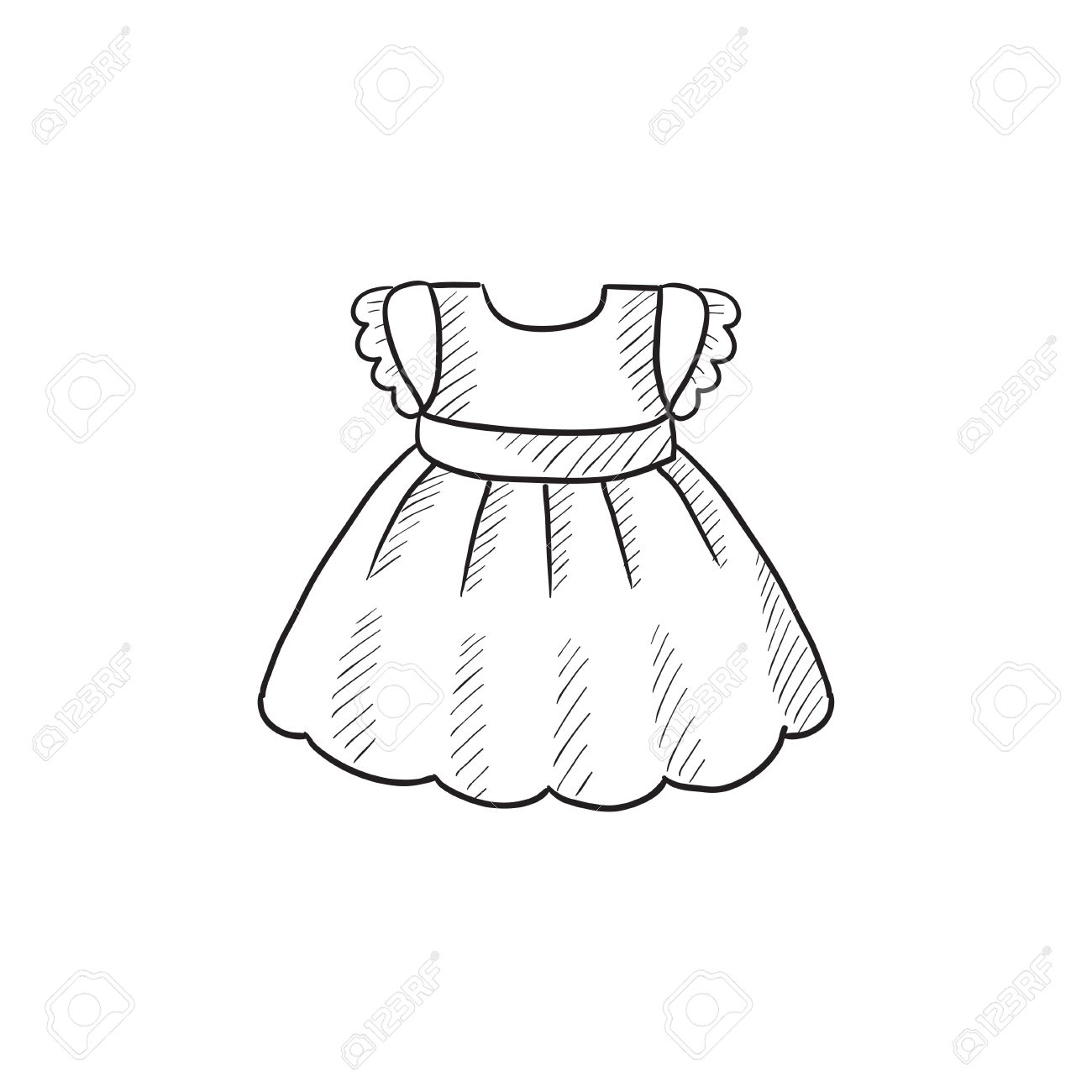 1300x1300 Baby Dress Vector Sketch Icon Isolated On Background. Hand Drawn