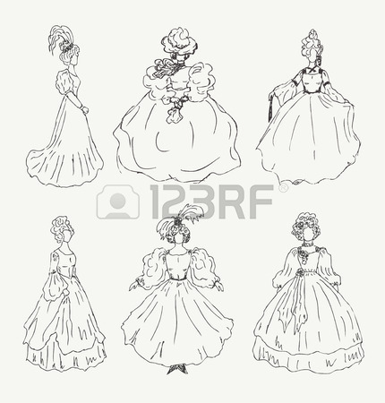 430x450 Collection Of Women Sketches In Retro Historical Clothes Ladies