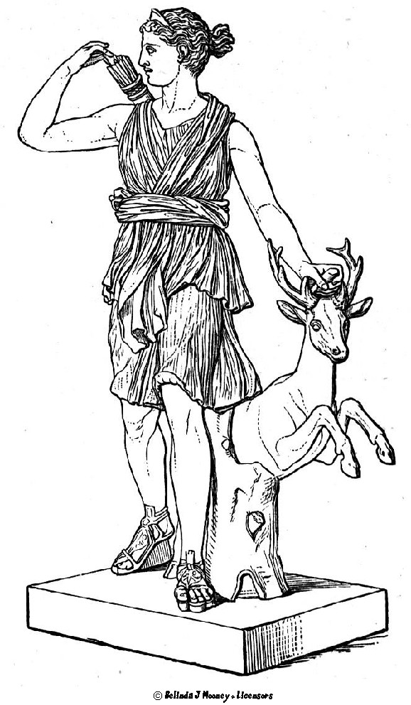 578x991 A Line Drawing Of The Goddess Artemis. Young Girls In Classical