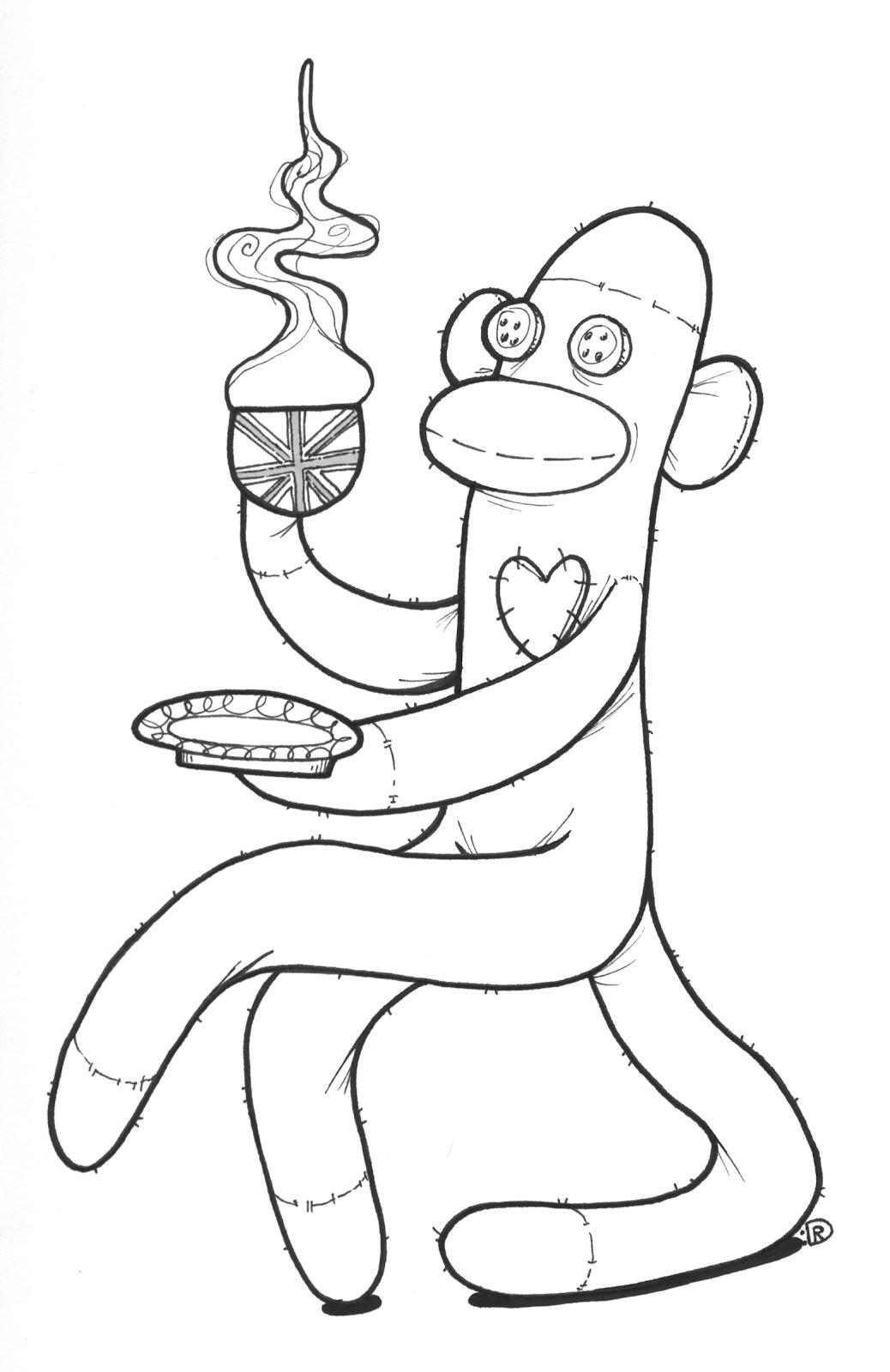 1038x1600 draw monkey monkey de sock - Monkey Pictures To Color