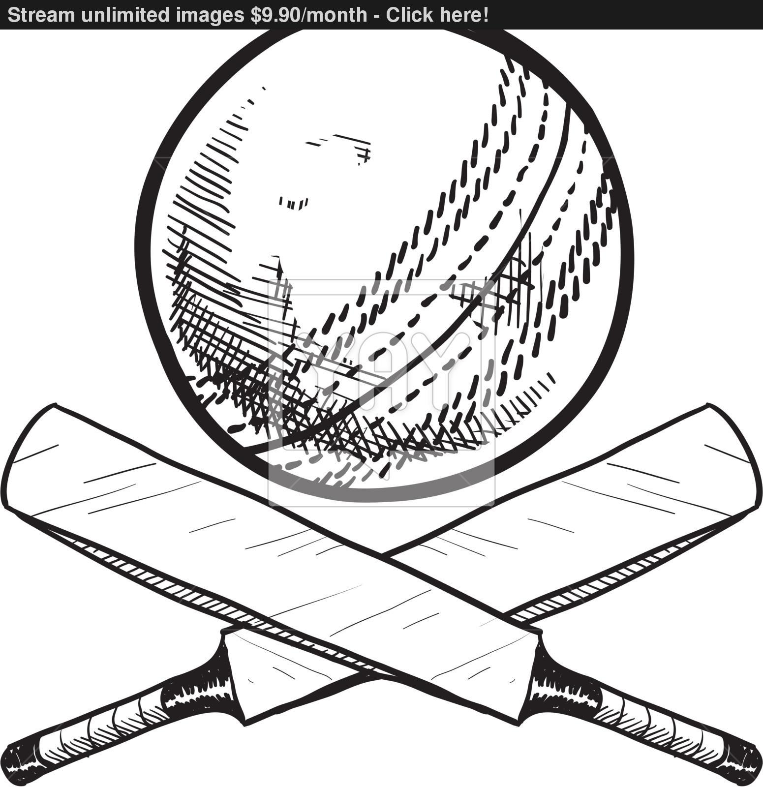 1551x1600 Bat And Ball Drawing Image