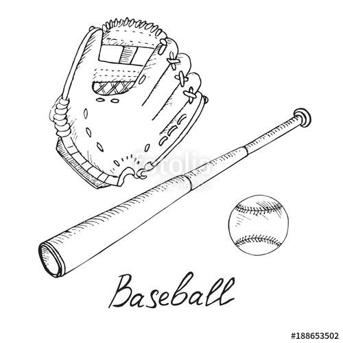 500x500 Baseball Equipment Set Ball, Bat And Glove, Hand Drawn Doodle