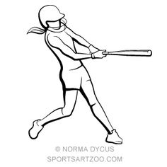 236x236 Girl Softball Batter With Grunge Ball Female V Neck Tee By