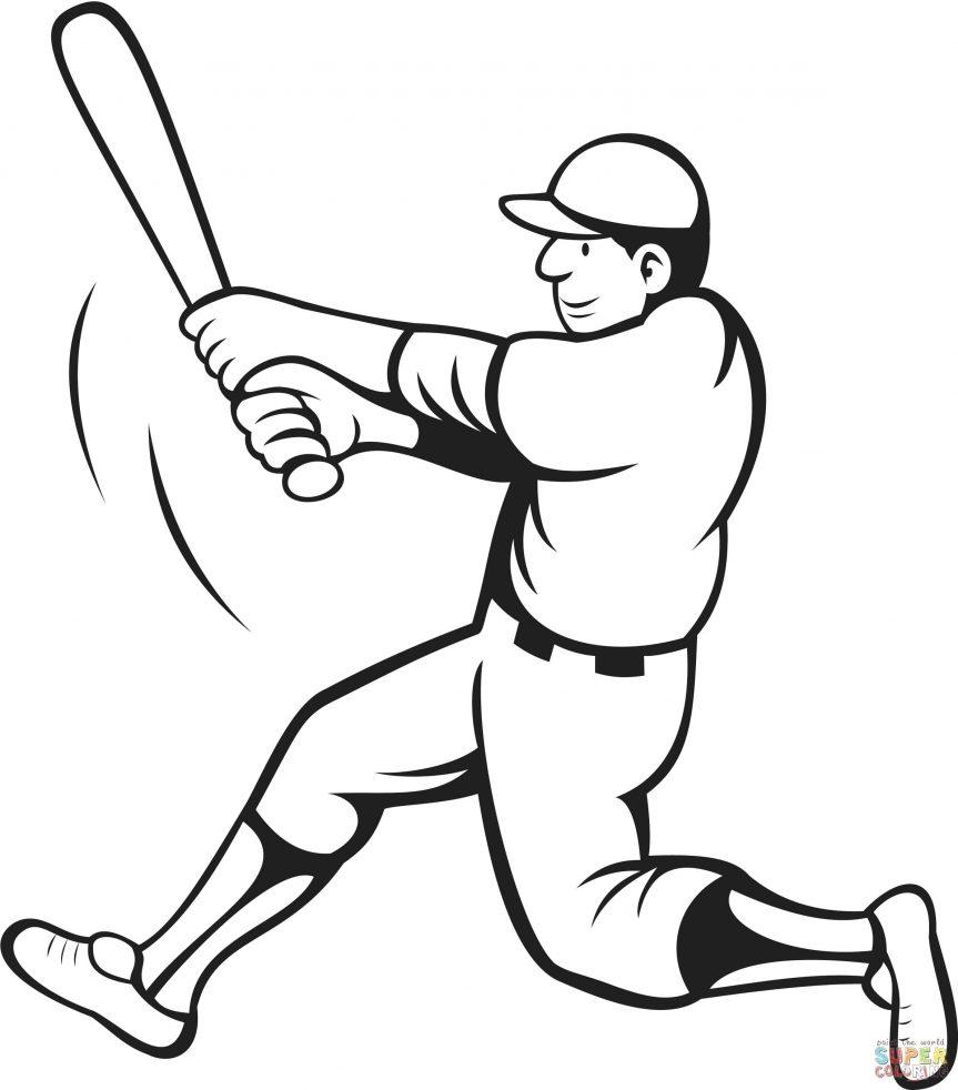 863x982 Baseball Coloring Pages With Softball To Print Free Printable