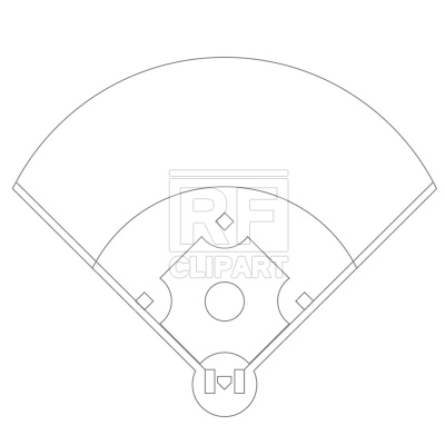 400x400 Baseball Field Plan Drawing Free Vector Clip Art Image