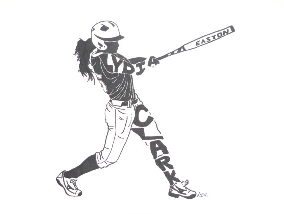 570x429 Women's Softball Silhouette