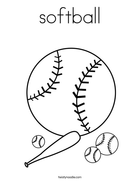 468x605 Free Softball Coloring Page Twisty Noodle