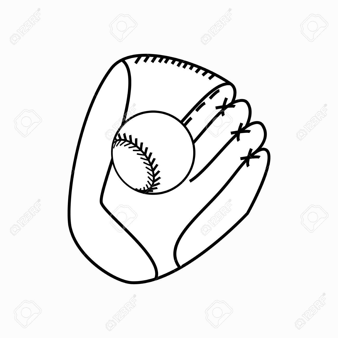 1300x1300 Baseball Glove With Ball Icon In Isometric 3d Style On A White