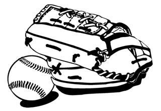 320x222 Baseball Glove And Ball Decal Sticker