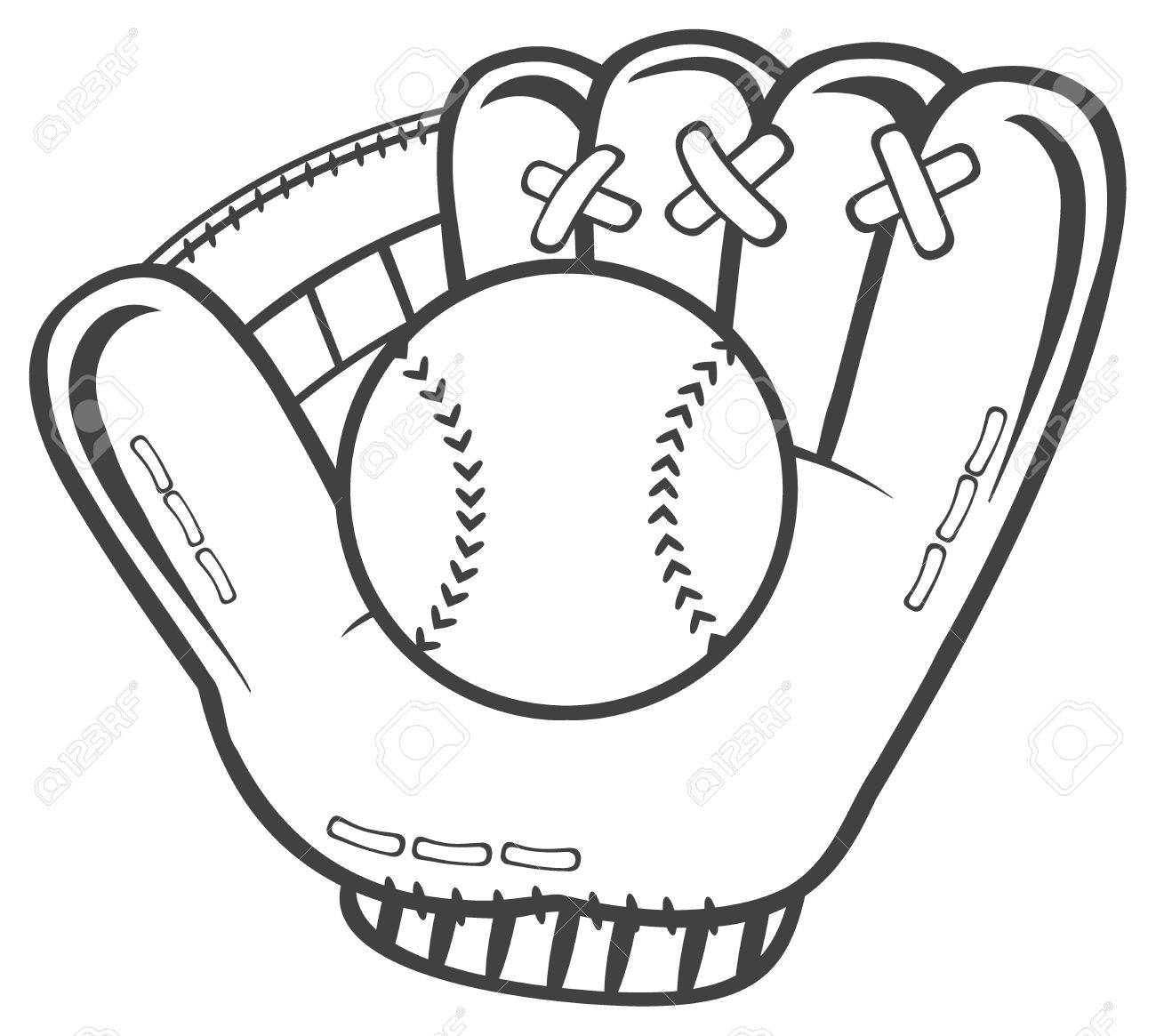 1300x1165 Black And White Baseball Glove And Ball. Illustration Isolated