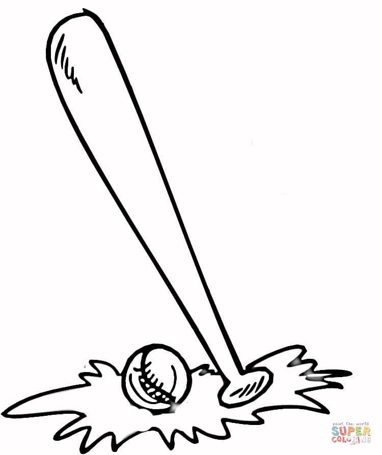 750x894 Baseball Bat And Ball Coloring Page Free Printable Coloring Pages