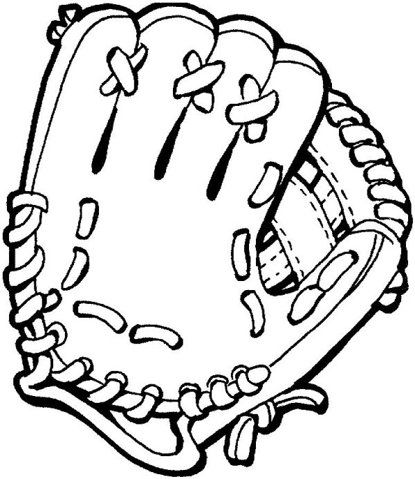 600x692 Baseball Glove Coloring Page Sports Pages Of Kidscoloringpage